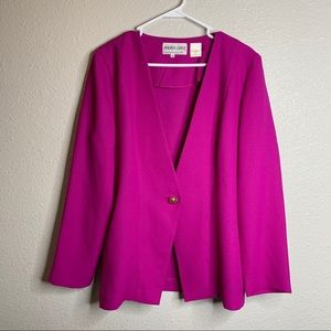 Fuchsia blazer with gold button in front size14